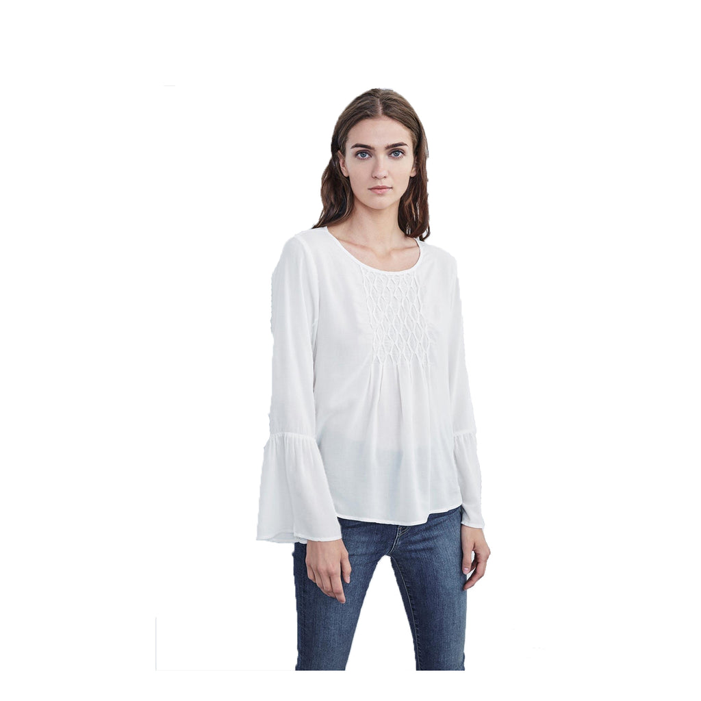 Velvet by Graham & Spencer Milk Rhea Bell Sleeve Top Size Small Muse Boutique Outlet | Shop Designer Clearance Tops on Sale | Up to 90% Off Designer Fashion