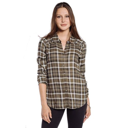 Velvet Heart Nena Plaid Button Up Extra Small Green/Multicoloured Muse Boutique Outlet