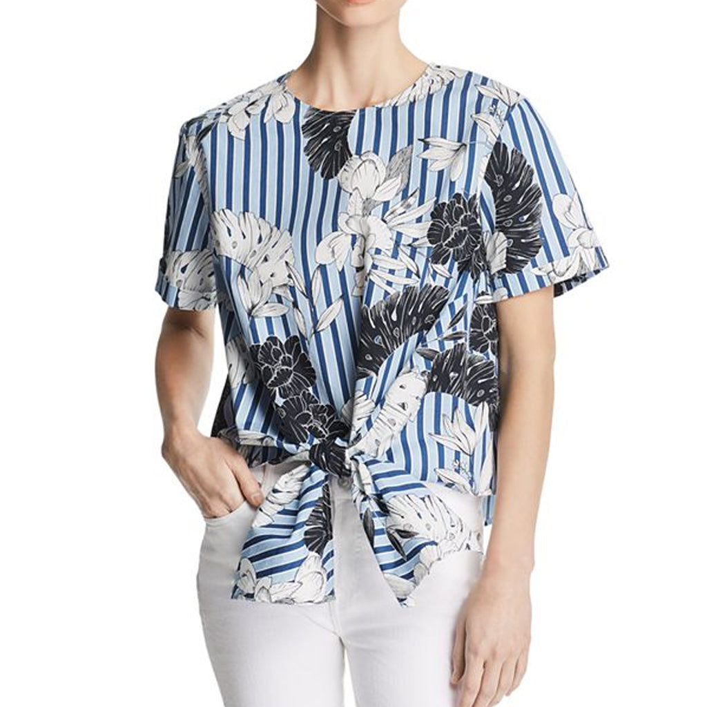 Velvet Heart Blue Tropical Stripe Printed Tie Waist Top Size Extra Small Muse Boutique Outlet | Shop Designer Clearance Tops on Sale | Up to 90% Off Designer Fashion