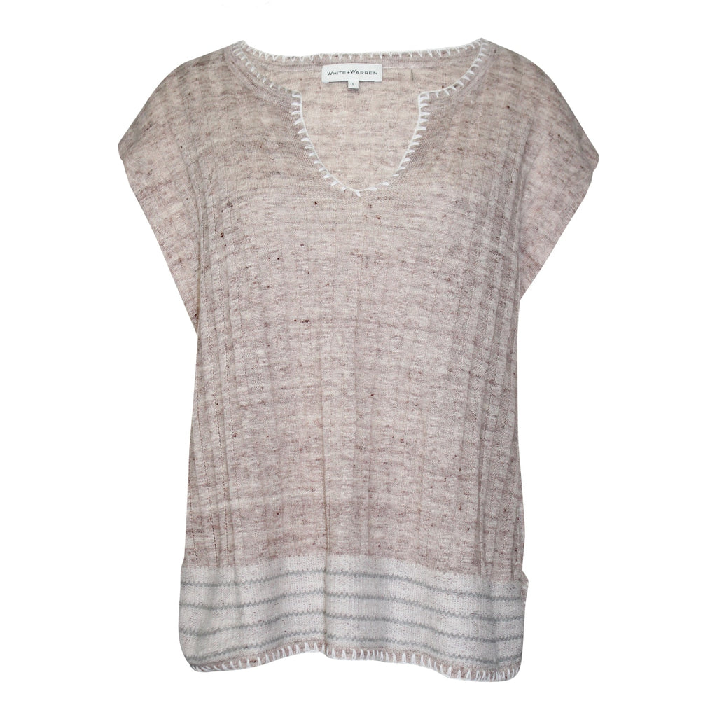 White + Warren Tawny Multi Blanket Stitch Knit Tank Size Large Muse Boutique Outlet | Shop Designer Sleeveless Tops on Sale | Up to 90% Off Designer Fashion