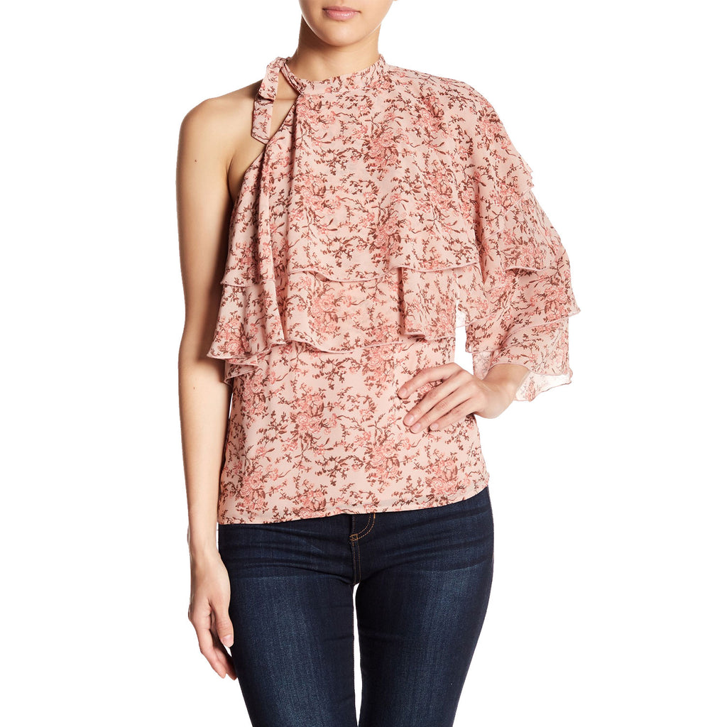 WAYF Blush Floral Colton Ruffle Tiered Floral Blouse Size Extra small Muse Boutique Outlet | Shop Designer Clearance Tops on Sale | Up to 90% Off Designer Fashion