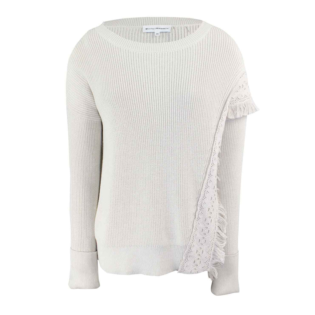 White + Warren Flax Fringed Eyelet Crewneck Size Extra Small Muse Boutique Outlet | Shop Designer Sweaters on Sale | Up to 90% Off Designer Fashion