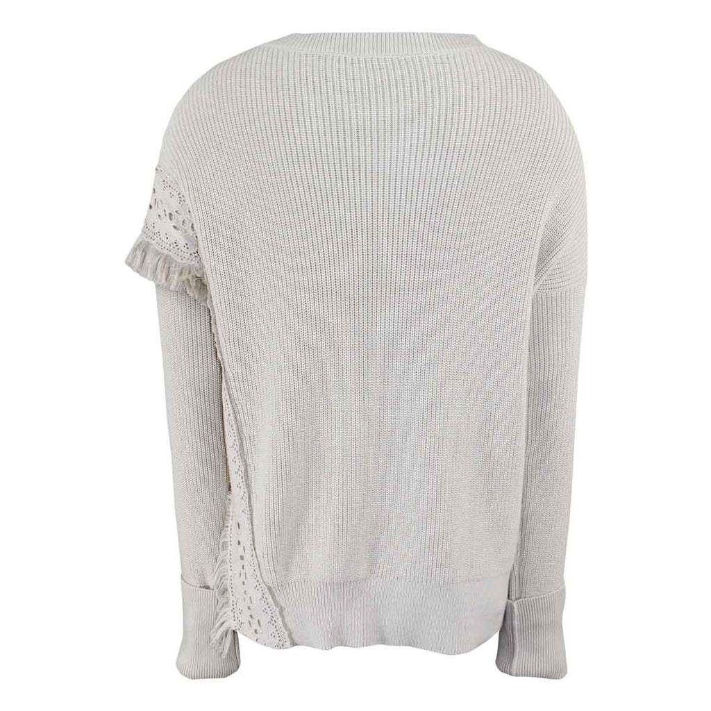 White + Warren  Fringed Eyelet Crewneck Size  Muse Boutique Outlet | Shop Designer Sweaters on Sale | Up to 90% Off Designer Fashion