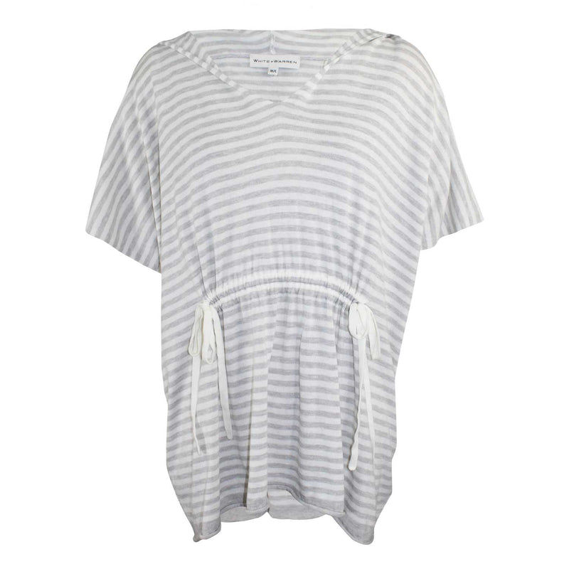 White + Warren Drawstring Hooded Poncho M/L Grey / White Muse Boutique Outlet | Shop Designer Long Sleeve Tops on Sale | Up to 90% Off Designer Fashion