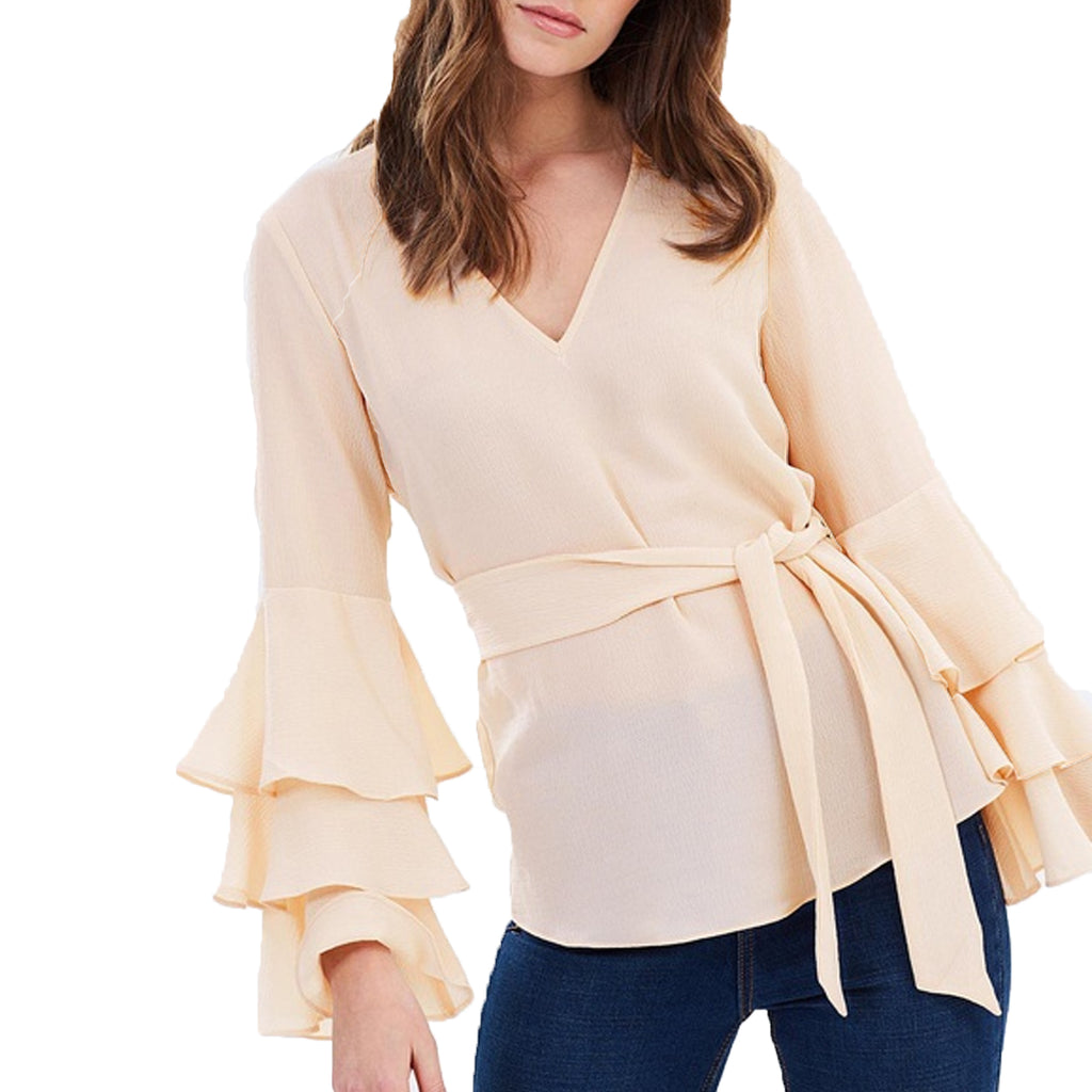 Wish the Label Light Rose Cyrus Ruffle Long Sleeve Top Size Extra Small Muse Boutique Outlet | Shop Designer Clearance Tops on Sale | Up to 90% Off Designer Fashion