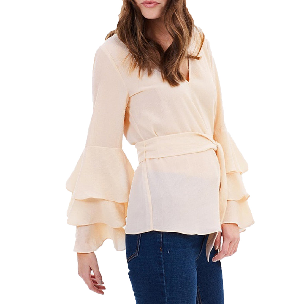Wish the Label  Cyrus Ruffle Long Sleeve Top Size  Muse Boutique Outlet | Shop Designer Clearance Tops on Sale | Up to 90% Off Designer Fashion