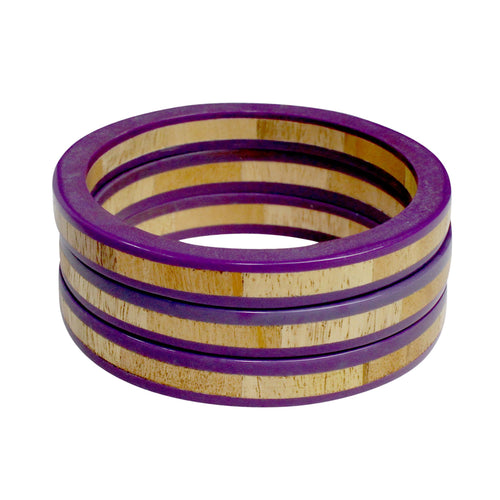 Private Label Wooden Bangles OSFA Purple Muse Boutique Outlet
