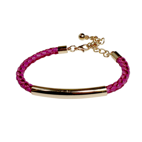 Private Label Woven Leather Bar Bracelet OSFA Purple Muse Boutique Outlet