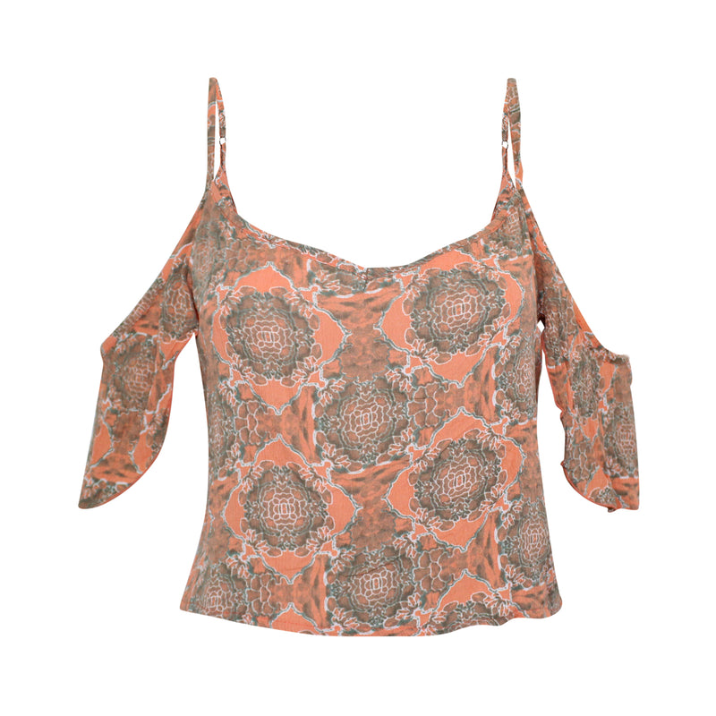 Yireh Coral Mita Cold Shoulder Crop Top Size Large Muse Boutique Outlet | Shop Designer Clearance Tops on Sale | Up to 90% Off Designer Fashion