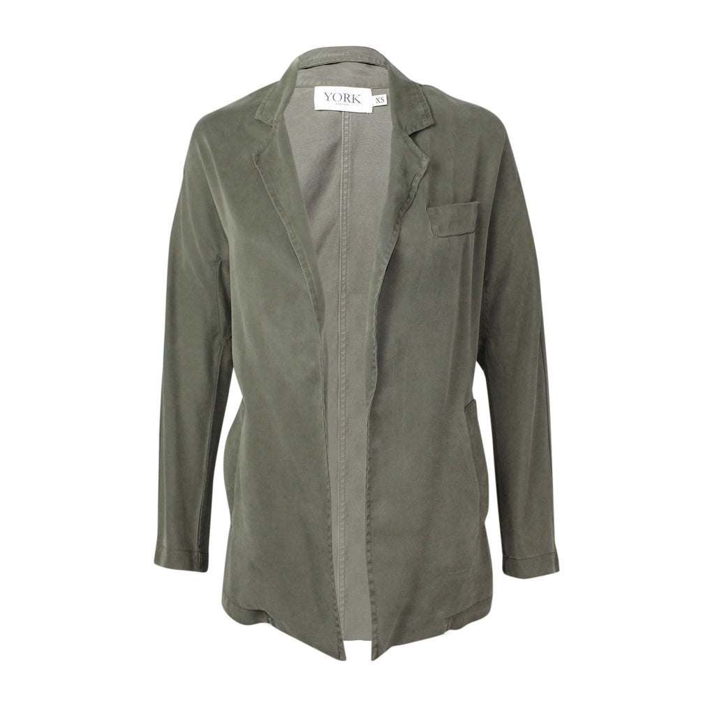 York Street Army Open Front Draped Blazer Size Extra Small Muse Boutique Outlet | Shop Designer Clearance Outerwear on Sale | Up to 90% Off Designer Fashion