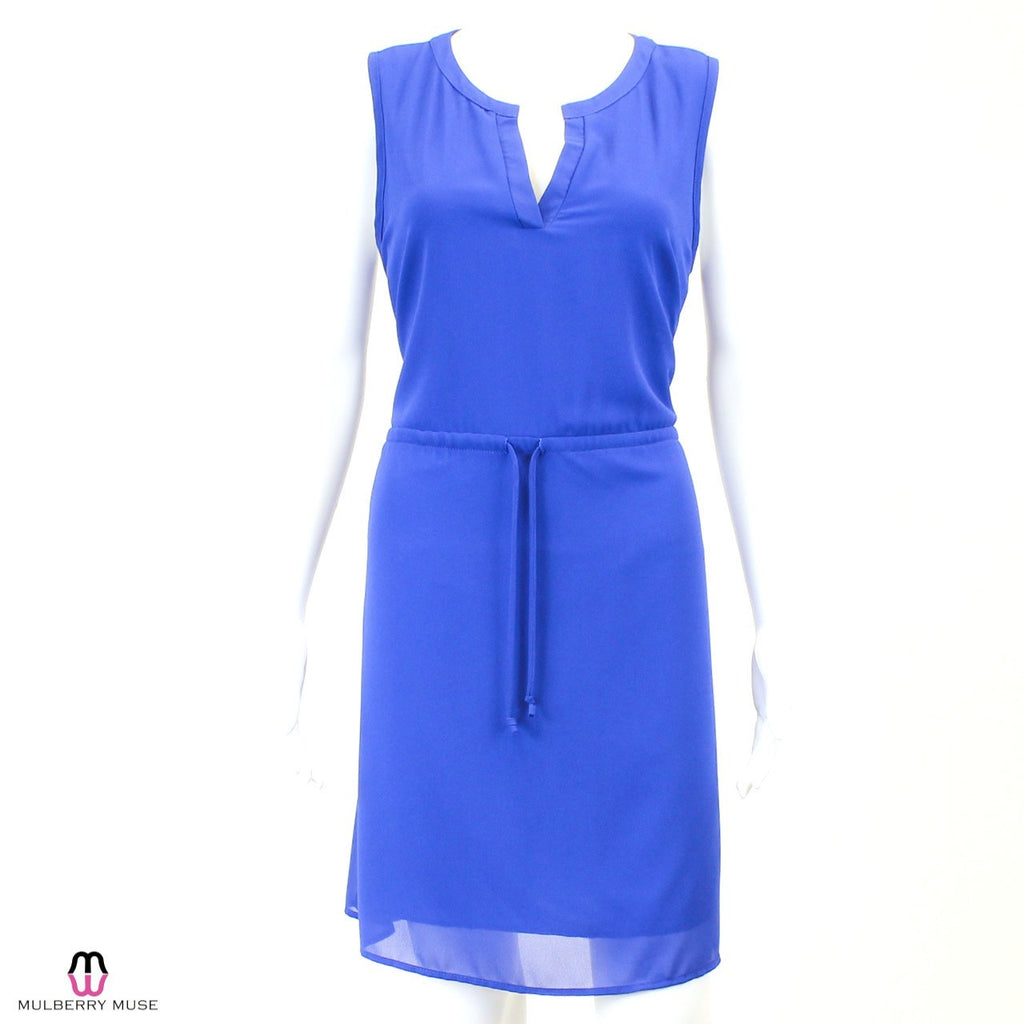 Zouk Blue Drawstring Tie Waist Dress Size Large Muse Boutique Outlet | Shop Designer Clearance Dresses on Sale | Up to 90% Off Designer Fashion