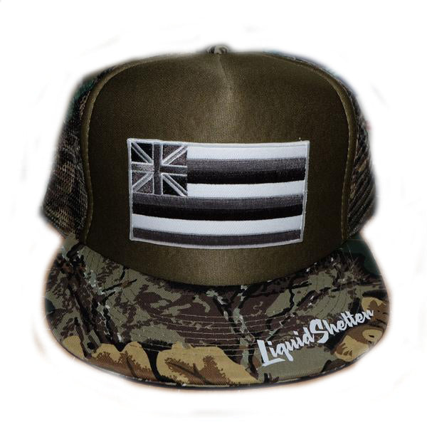 """Hawaii Grey Flag Patch"" Trucker By Liquid Shelter  8/9"