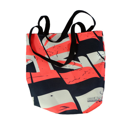 """Red Torn Flag"" Tote Bag By 808 Empire 10-30-19"