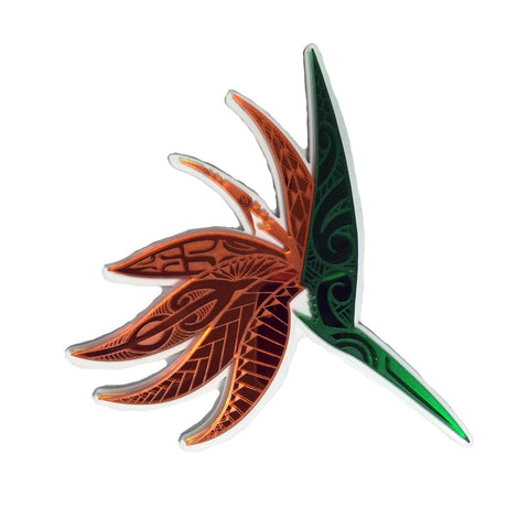 """Bird of Paradise"" Plexi-Decal By Island Silver (Green/Orange/white)"