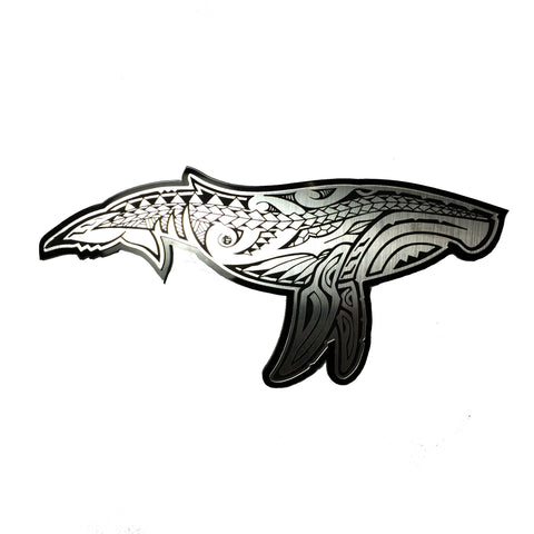 """Humpback Whale"" Plexi-Decal By Island Silver (Silver on black)"