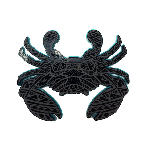 """Samoan Crab"" Plexi-Decal By Island Silver (Black/TiffanyBlue) 7/31"