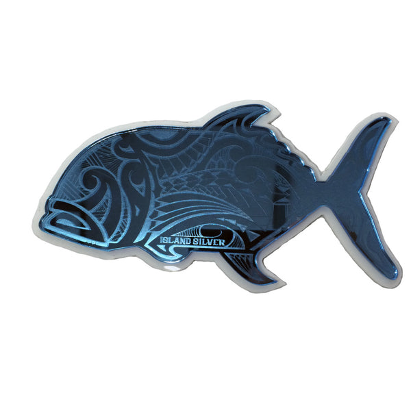 """Poly Ulua"" Plexi-Decal By Island Silver (Blue on White) 7/31"