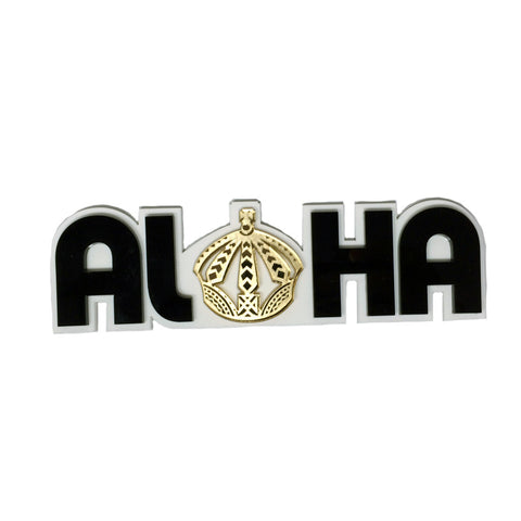 """Aloha Crown"" Plexi-Decal By Island Silver (White/black/gold)"