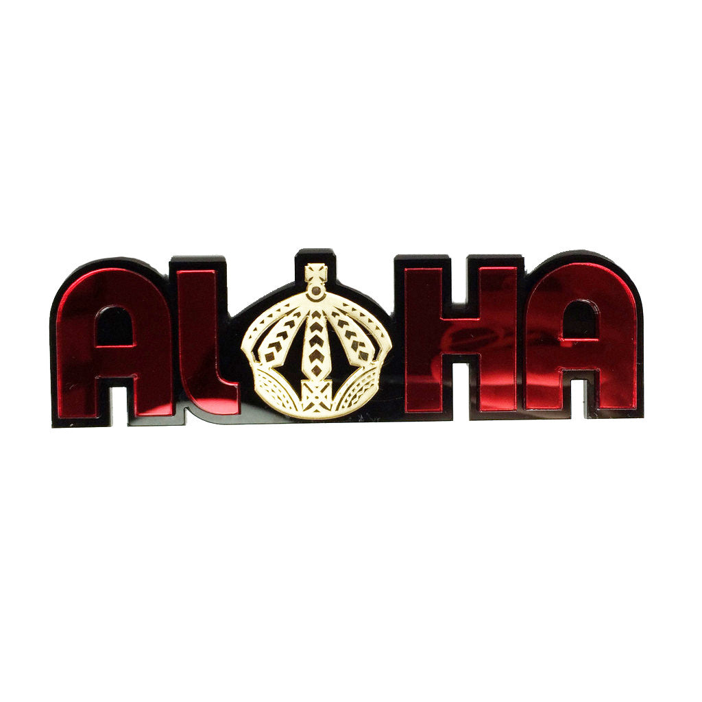 """Aloha Crown"" Plexi-Decal By Island Silver (Red/gold/black)"