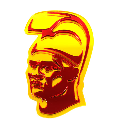 """Original King Kamehameha"" Plexi-Decal By Island Silver (Red on Yellow)"
