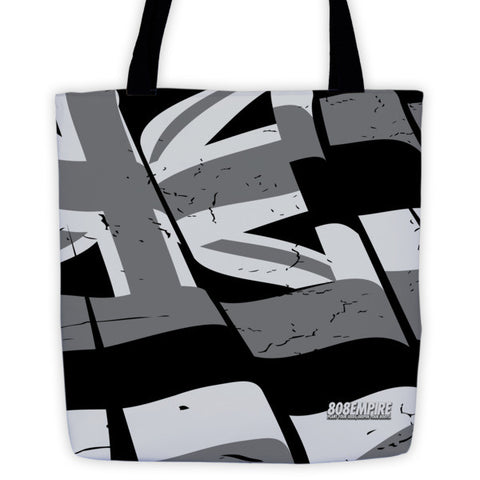 """Torn Flag"" Grey Tote Bag By 808 Empire"