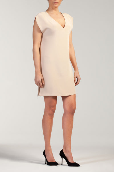 VERA  silk -cady V neck short dress