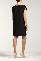 LUNA  silk-cady U neck short dress