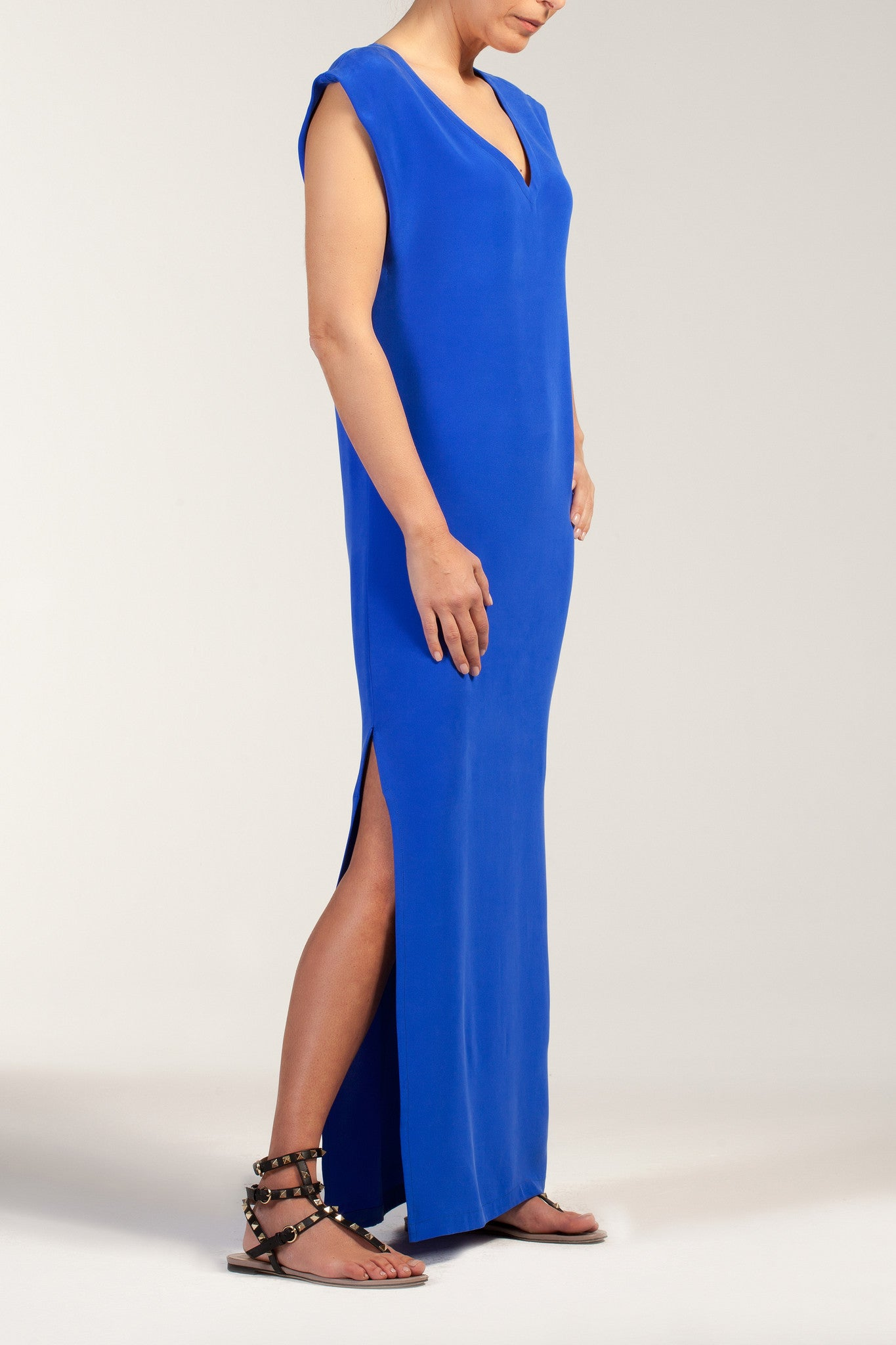 IVY  silk-cady V neck long dress