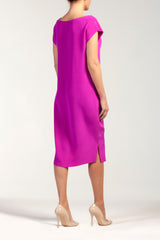BELLA  silk - cady crew neck midi dress