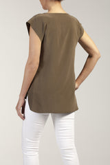 ELLA  silk - cady V neck top