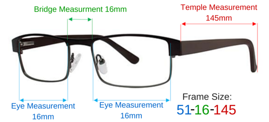 Eyeglass Frame Temple Size : Frame Size In-Sight Optical - Insightglasses.com