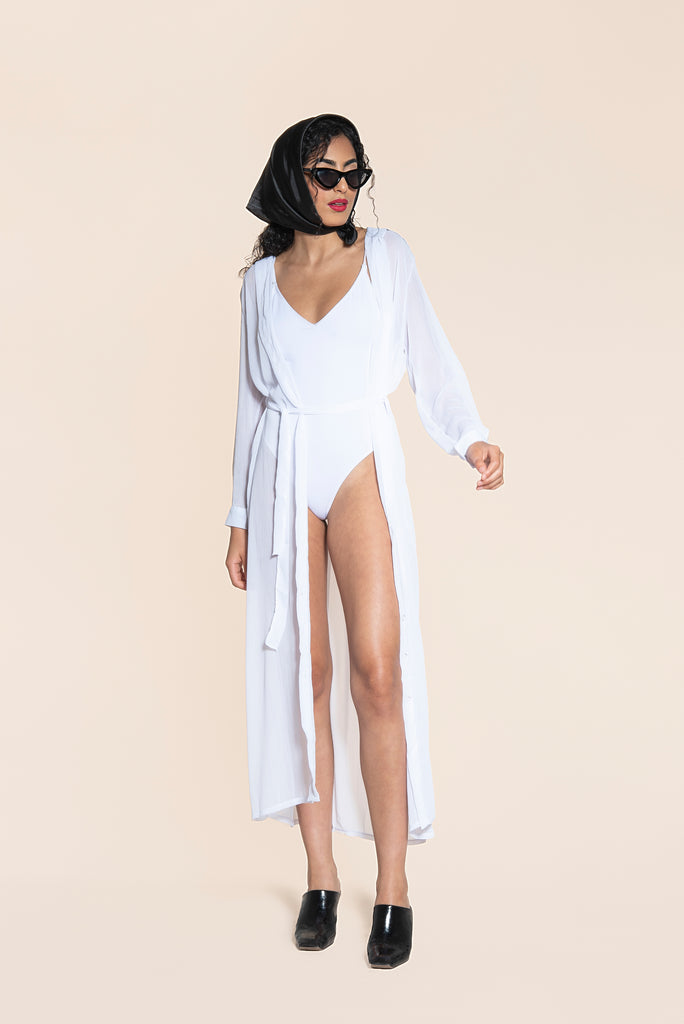 .06 BRIGITTE SHEER COVER UP - WHITE
