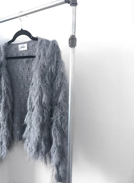 .04 LISA FURRY FUZZY ME SWEATER KNIT - DUSTY SORROW GREY