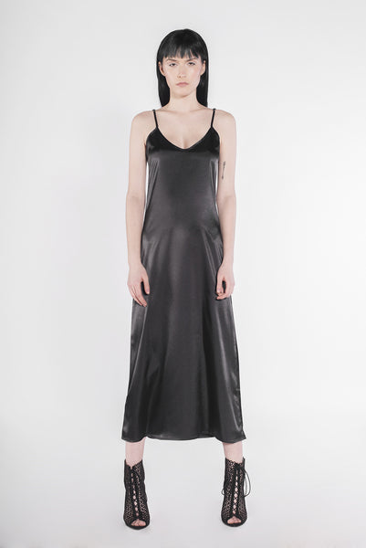 .03 SATIN SCARFACE SLIP DRESS - ONYX NOIR