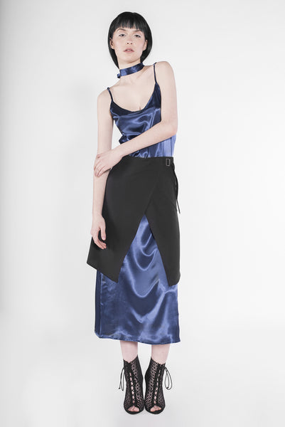 .03 SATIN SCARFACE SLIP DRESS - ROYAL MIDNIGHT BLUE