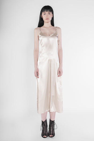 .03 SATIN SCARFACE SLIP DRESS - CHAMPAGNE NUDE
