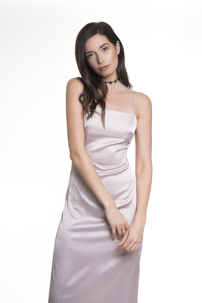 .04 T SILK SLIP DRESS - SILVER