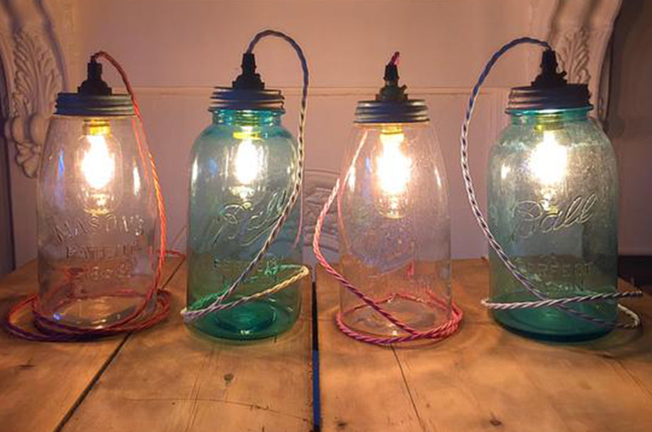 Bright Goods LED Filament Light Bulb Albert Mini Tube in Colourful Glass Jar Lamps from Blue Skies Vintage