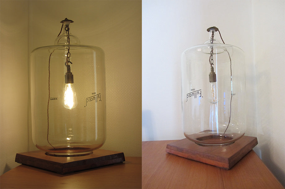 Bright Goods LED Filament Victoria Light Bulb in a milk jar (switched on and off)
