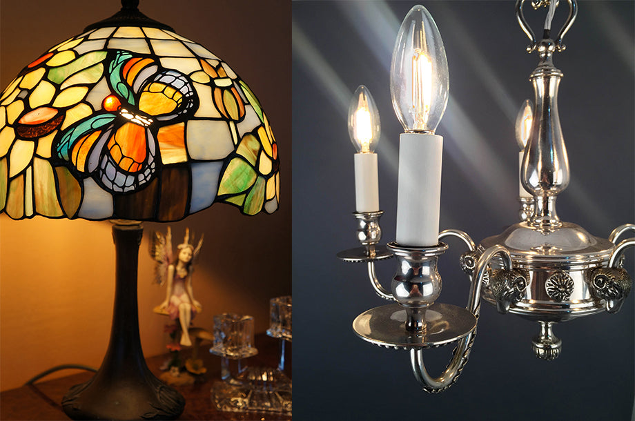 Bright Goods LED filament Elizabeth candle and tiffany stained glass lamp