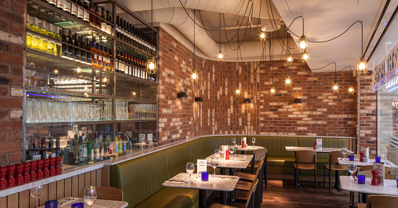 Retro Industrial Style Led Filament Lamps In Pizza Express