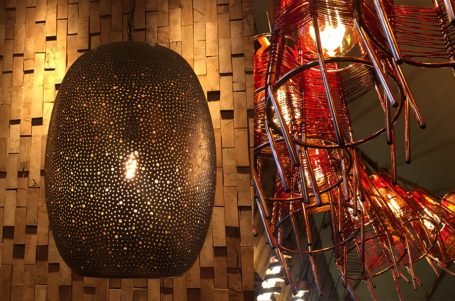 Nando's Hove has Bright Goods LED filament lamps in quirky metal cage light fittings and morrocan pendant