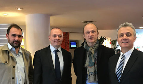 Photo (L-R): Ludovic Morcel, Key Account Manager, Grosseron, Andy Hall, EMEA Operations and Distribution Manager, Trajan Scientific and Medical, Laurent Fleury President, Grosseron, Christian Georget, Area Sales Manager - Life Science Project Support, Trajan Scientific and Medical.