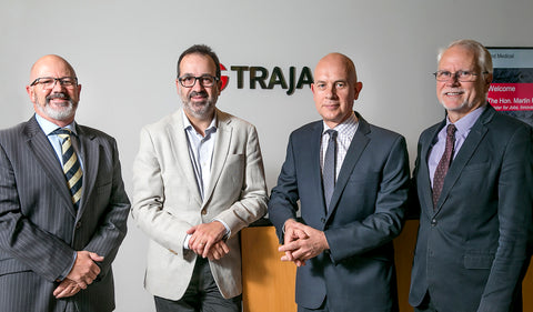 Photo: Mr Robert Lyon, Head of Corporate Development, Trajan Scientific and Medical, The Hon. Martin Pakula, Minister for Jobs, Innovation and Trade, Victorian Government, Mr Stephen Tomisich, Chief Executive Officer, Trajan Scientific and Medical, Dr Andrew Gooley, Chief Scientific Officer, Trajan Scientific and Medical, at Trajan's global corporate headquarters in Melbourne, Australia.