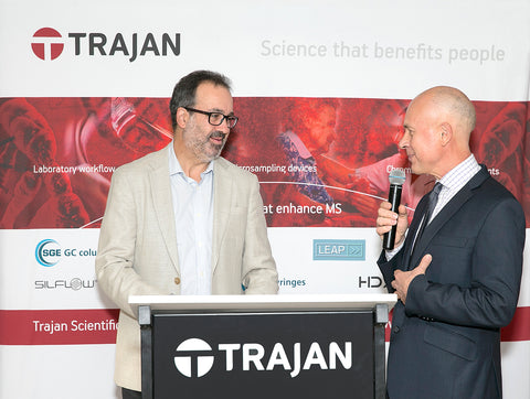Photo: The Hon. Martin Pakula, Minister for Jobs, Innovation and Trade, Victorian Government, welcomed by Mr Stephen Tomisich, Chief Executive Officer, Trajan Scientific and Medical.