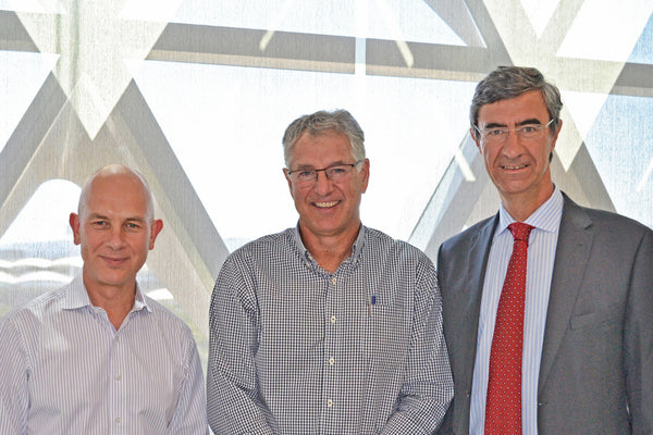 Mr Stephen Tomisich, CEO Trajan Scientific and Medical, Prof Steve Wesselingh, Executive Director SAHMRI, Mr Marco Baccanti, CEO Trajan Nutrition.