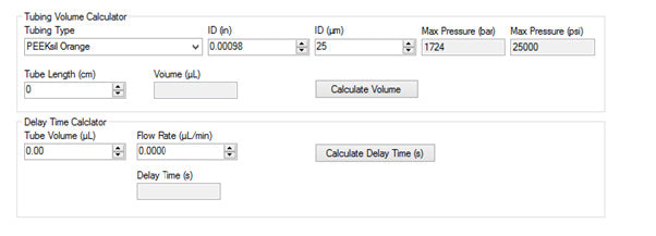Built-in calculators for tubing volume and delay time help with data reporting and reducing user errors