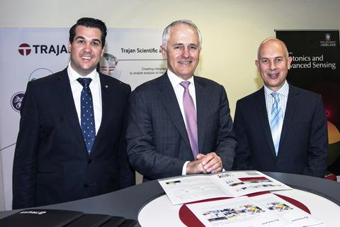 Mr Michael Sukkar, MP, Member for Deakin, the Hon. Malcolm Turnbull, MP, Prime Minister of Australia, Mr Stephen Tomisich, Chief Executive Officer, Trajan Scientific and Medical
