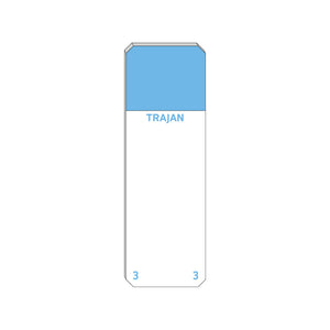 Trajan Scientific and Medical, Series 3 Adhesive Microscope Slides, Blue, Frost 20 mm, 75 mm x 25 mm