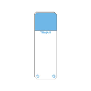 Trajan Scientific and Medical, Series 3 Adhesive Microscope Slides, Blue, Frost 20 mm, 76 mm x 26 mm